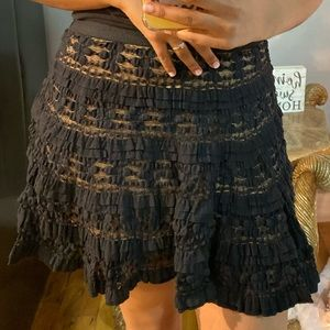 Black lace skirt with nude under wrap